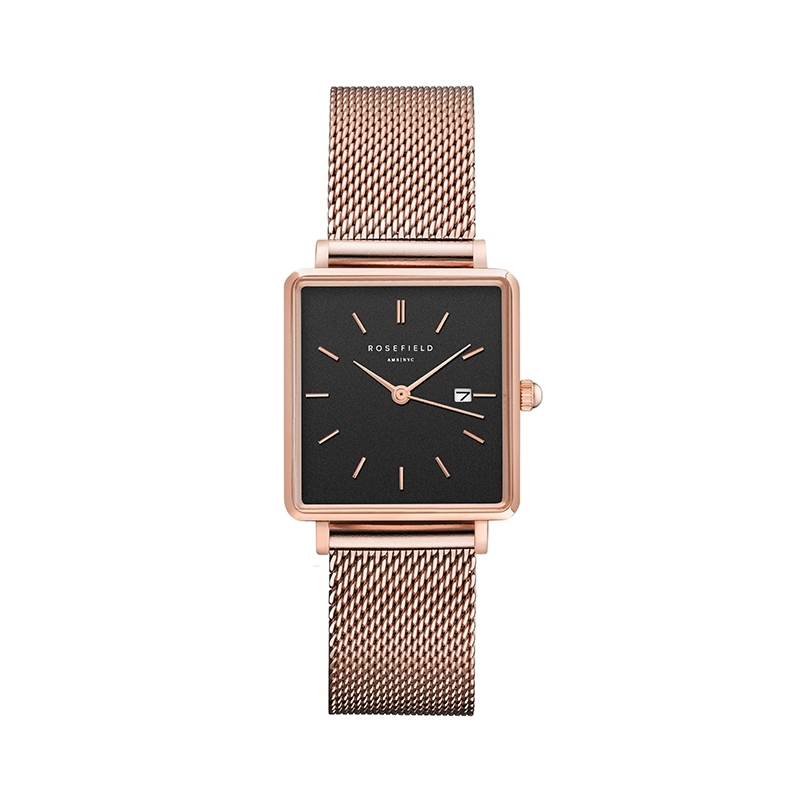 Reloj Rosefield The Boxy negro/oro rosa. - REF. QBMR-Q05 - Movil