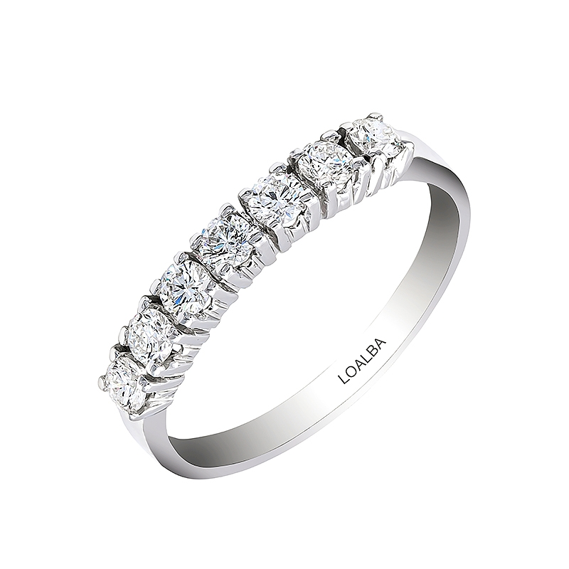 Anillo oro blanco 1ª ley y 7 diamantes 0,49 ct - REF. N-2727/5S - Movil