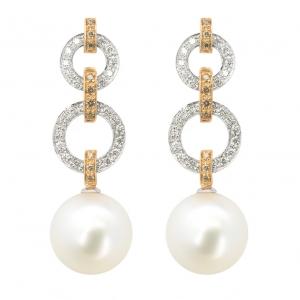 Pendientes oro blanco/rosa 1ª ley, diamantes y perlas australianas. - REF. N-5235-3P