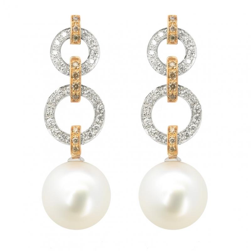 Pendientes oro blanco/rosa 1ª ley, diamantes y perlas australianas. - REF. N-5235-3P - Movil