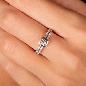 Anillo compromiso oro blanco 1ª ley y diamantes. - REF. N-7244S 1