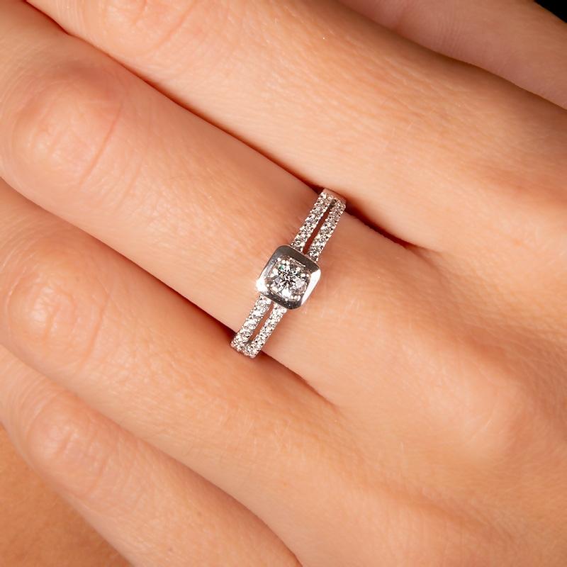 Anillo compromiso oro blanco 1ª ley y diamantes. - REF. N-7244S - Movil