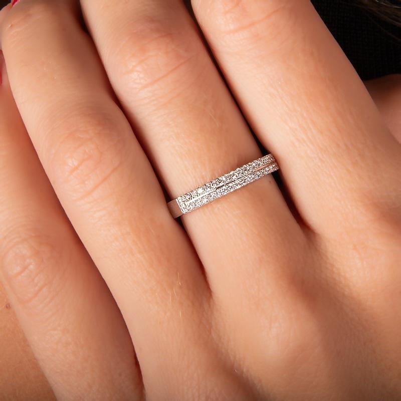 Anillo oro blanco 1ª ley y diamantes. - REF. N-20001-2S - Movil