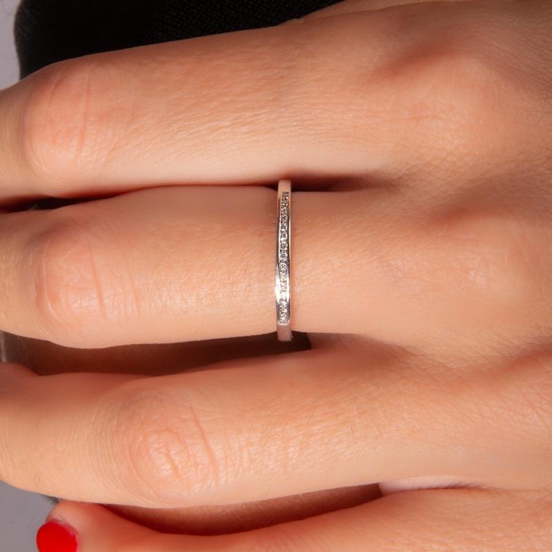 Anillo oro blanco 1ª ley y 15 diamantes 0,09 ct - REF. N-7336S - Movil