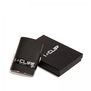 Clip tarjetero en piel negro. - REF. 14111