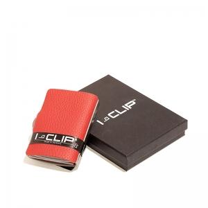 Clip tarjetero en piel rojo. - REF. 13405