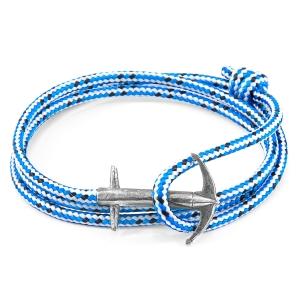 Pulsera Anchor & Crew plata y cuerda azul. - REF. AC.SI.AD2