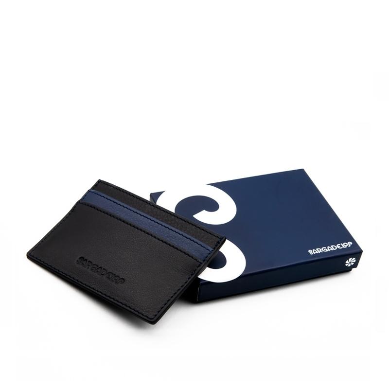 Tarjetero piel Mon azul/negro. - REF. CPS00900 - Movil