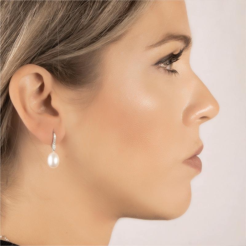Pendientes oro blanco 1ª ley, diamantes y perlas agua dulce. - REF. N-5292P - Movil