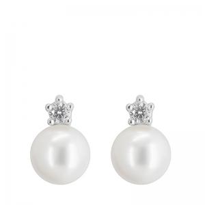 Pendientes oro blanco 1ª ley, diamantes y perlas agua dulce. - REF. N-5241P