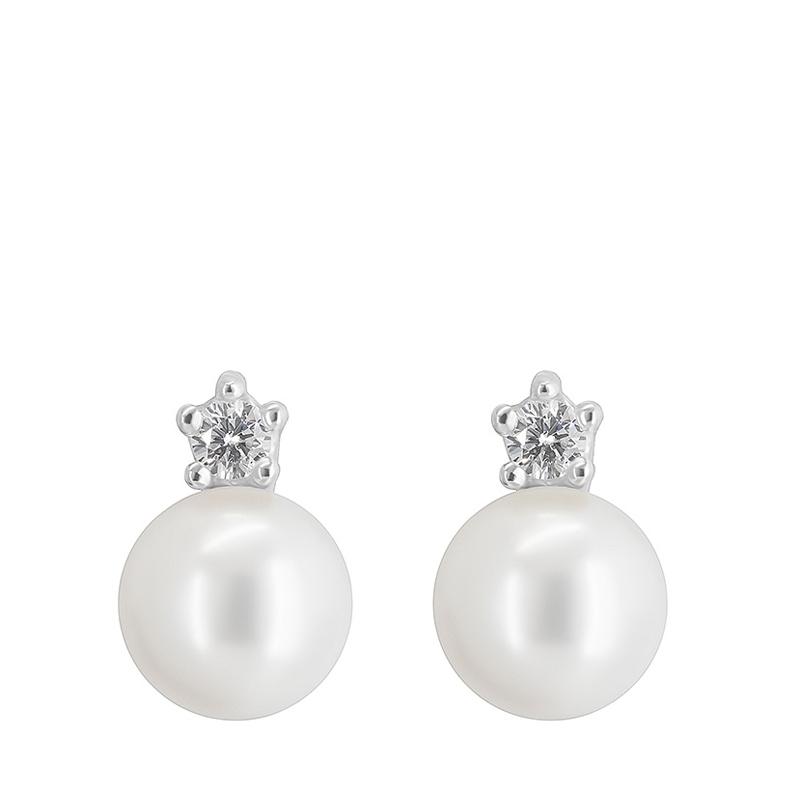 Pendientes oro blanco 1ª ley, diamantes y perlas agua dulce. - REF. N-5241P - Movil