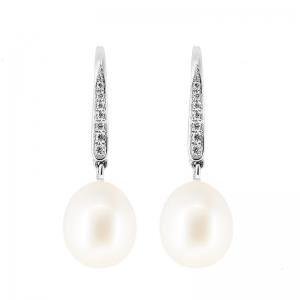 Pendientes oro blanco 1ª ley, diamantes y perlas agua dulce. - REF. N-5292P