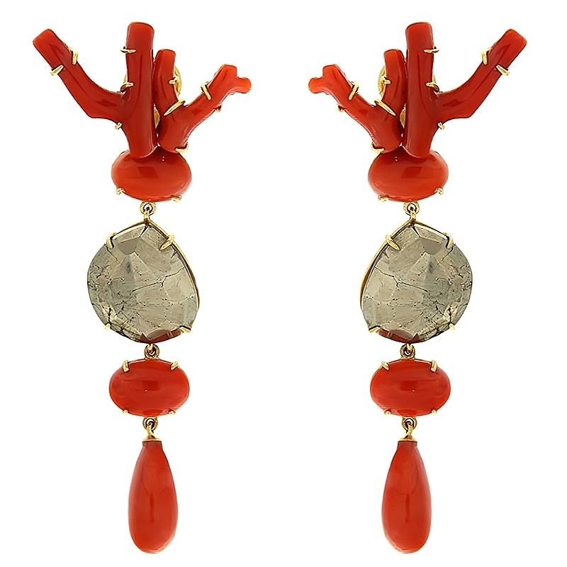 Pendientes Luciana en plata dorada, pirita y coral noble. - REF. N-Nº598P - Movil