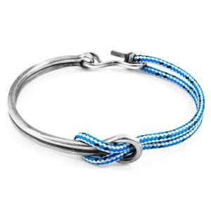 Pulsera Anchor & Crew plata y cuerda azul. - REF. AC.NA.TA2