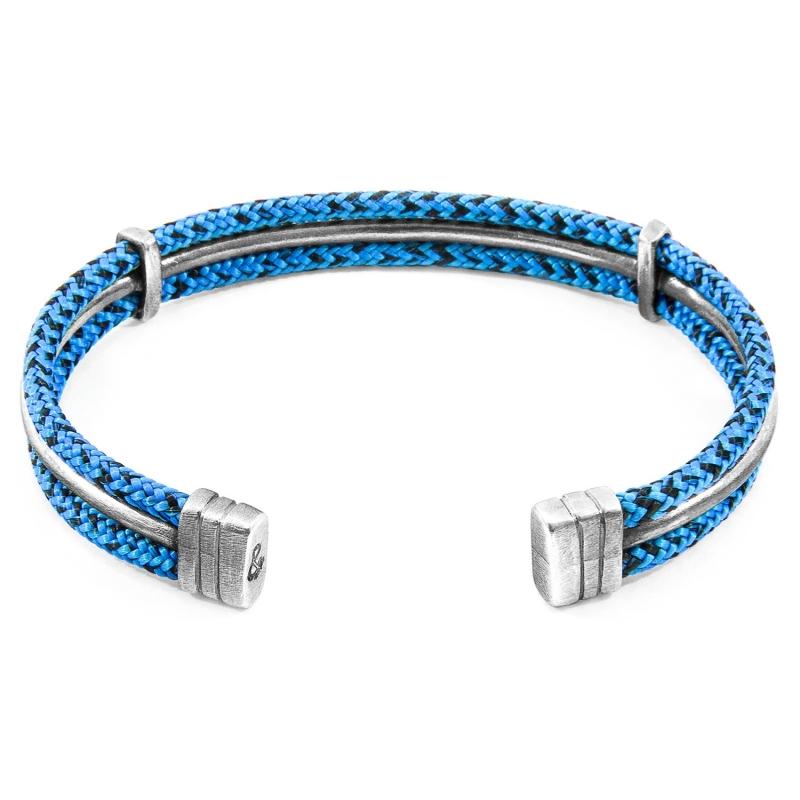 Pulsera rígida Anchor & Crew plata y cuerda azul/negra. - REF. AC.NA.AI11 - Movil