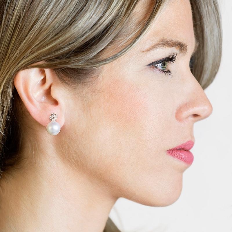 Pendientes oro blanco 1ª ley, diamantes y perlas australianas. - REF. N-PR616/3P - Movil