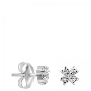 Pendientes flor mini oro 1ª ley y diamantes. - REF. N-5248/1P