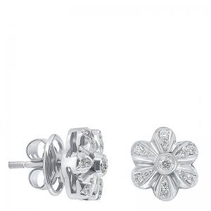 Pendientes flor grande oro 1ª ley y diamantes. - REF. N-5216/5P