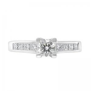 Anillo compromiso oro blanco 1ª ley y diamantes. - REF. N-7246/5S 1