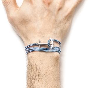 Pulsera Anchor & Crew plata y cuerda azul. - REF. AC.SI.AD2 1