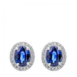 Pendientes oro 1ª ley, diamantes y zafiros. - REF. N-7256P