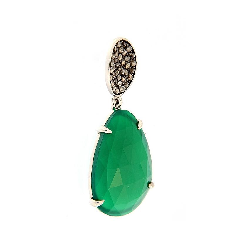 Pendientes plata rodiada, diamantes y ágata verde. - REF. RV/9171-3P - Movil