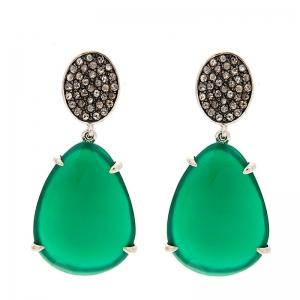 Pendientes plata rodiada, diamantes y ágata verde. - REF. RV/9171-3P