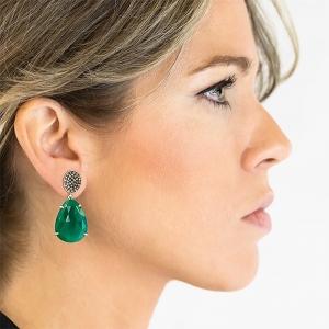 Pendientes plata rodiada, diamantes y ágata verde. - REF. RV/9171-3P 1