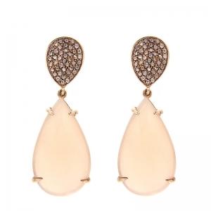 Pendientes plata rosada, diamantes y adularia. - REF. RV/9171-2P