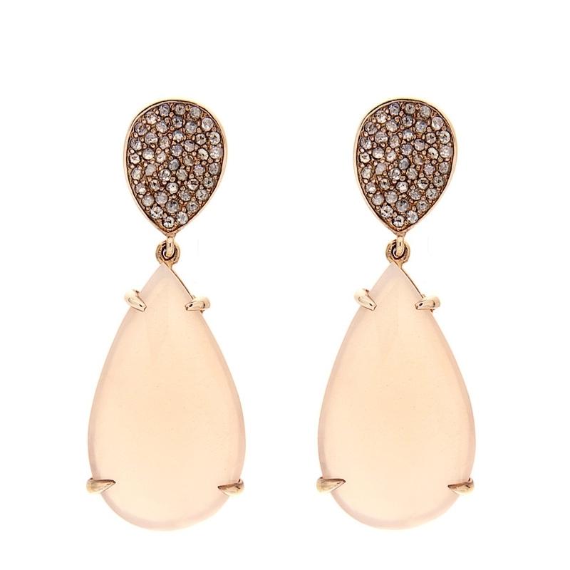 Pendientes plata rosada, diamantes y adularia. - REF. RV/9171-2P - Movil