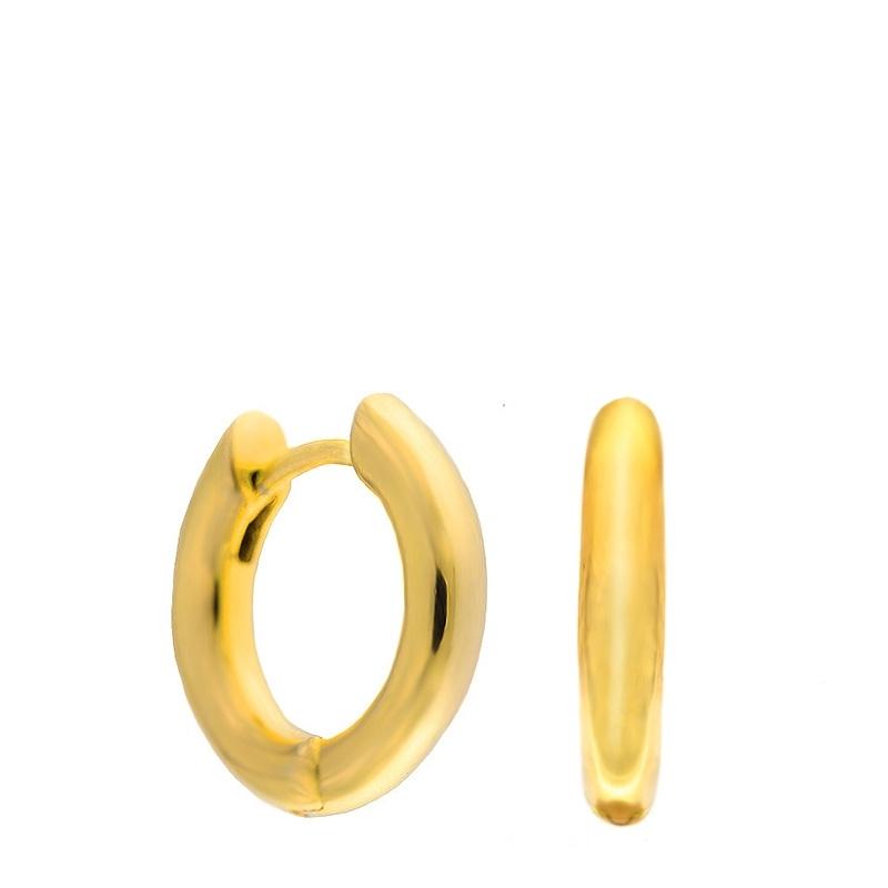 Par pendientes aros pequeños Coolook plata dorada. - REF. ND076A - Movil