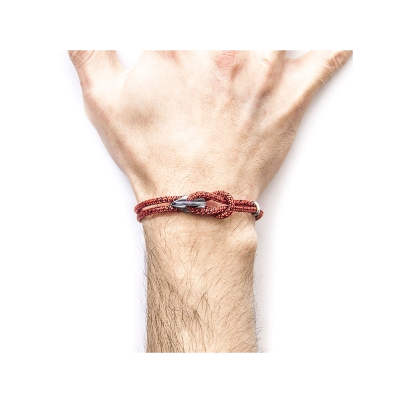 Pulsera Anchor & Crew plata y cuerda roja/negra. - REF. AC.DO.PA13 - Movil