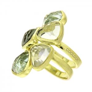 Anillo plata dorada y amatistas verdes. - REF. IL036AV-M