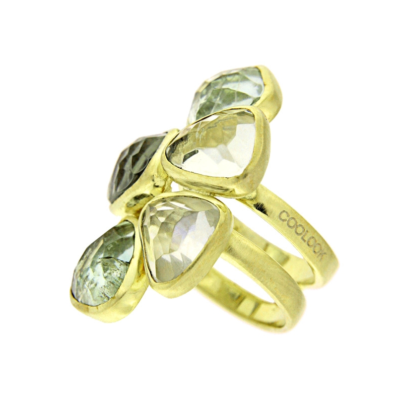 Anillo plata dorada y amatistas verdes. - REF. IL036AV-M - Movil