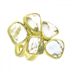 Anillo plata dorada y amatistas verdes. - REF. IL036AV-M 1