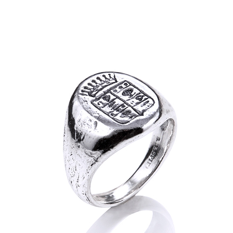 Anillo/sello Chevalier con escudo de armas de plata. - REF. 09404/18 - Movil