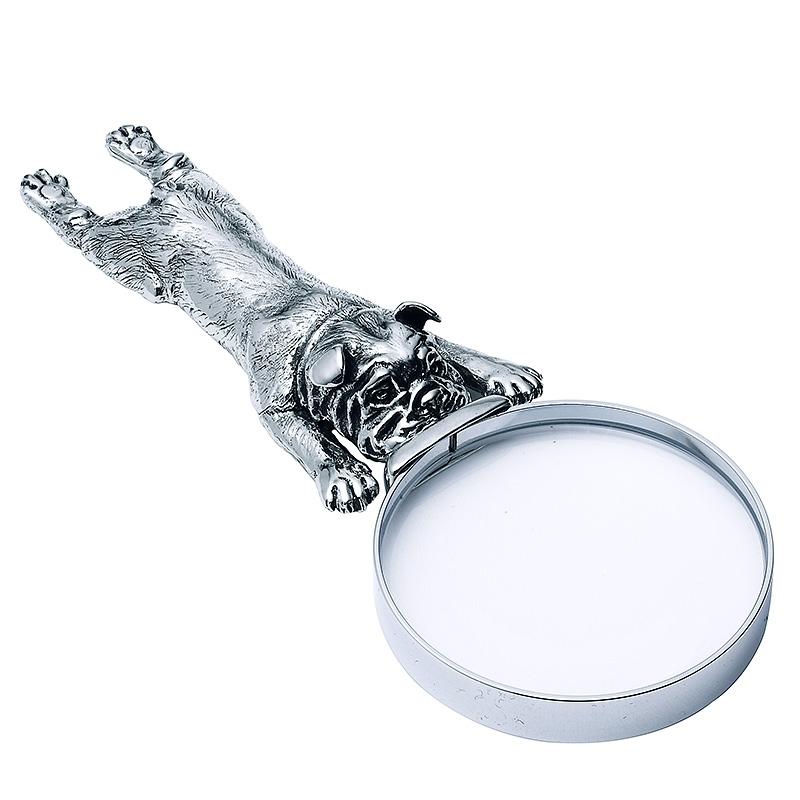 Lupa Bulldog de bronce blanco. - REF. B0558 - Movil
