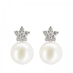 Pendientes oro blanco 1ª ley, diamantes y perlas cultivadas Japón. - REF. IA-OM0146BALLP