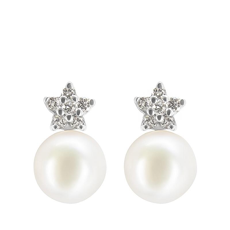 Pendientes oro blanco 1ª ley, diamantes y perlas cultivadas Japón. - REF. IA-OM0146BALLP - Movil