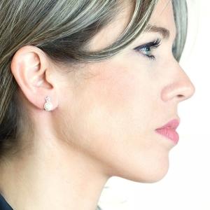 Pendientes oro blanco 1ª ley, diamantes y perlas cultivadas Japón. - REF. IA-OM0146BALLP 1