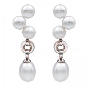 Pendientes plata rodiada, perlas y madreperla. - REF. N-Nº626P