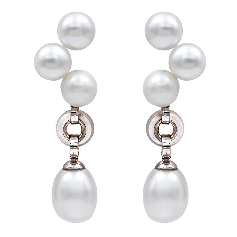 Pendientes plata rodiada, perlas y madreperla. - REF. N-Nº626P - Movil