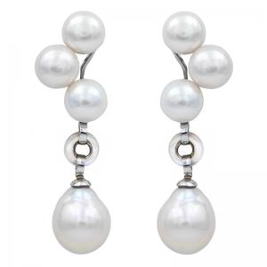 Pendientes plata rodiada, perlas y madreperla. - REF. N-Nº627P