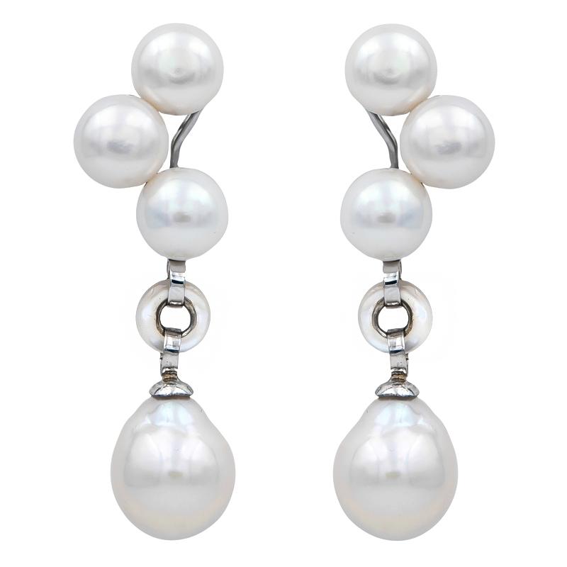 Pendientes plata rodiada, perlas y madreperla. - REF. N-Nº627P - Movil