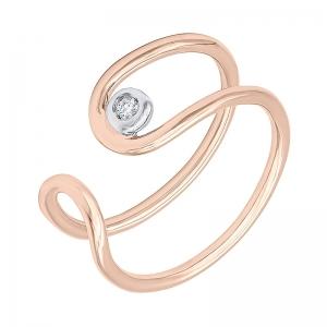 Anillo oro rosa/blanco 1ª ley y diamante. - REF. N-Nº645RS