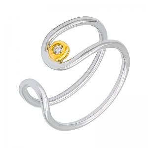 Anillo oro blanco/amarillo 1ª ley y diamante. - REF. N-Nº645BS