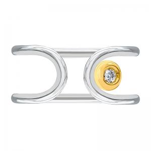 Anillo oro blanco/amarillo 1ª ley y diamante. - REF. N-Nº645BS 1