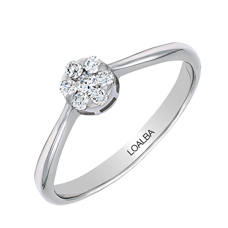 Anillo oro blanco 1ª ley y pavé 7 diamantes 0,06 ct - REF. N-2374/1S - Movil