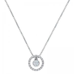 Colgante con cadena orla oro blanco 1ª ley y diamantes. - REF. N-CH5313CA