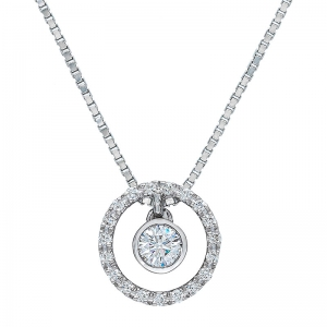 Colgante con cadena orla oro blanco 1ª ley y diamantes. - REF. N-CH5313CA 1
